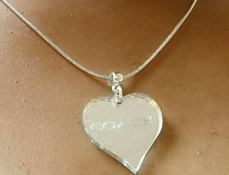 Designer Inspired Silver Heart Pendant Ladies Necklace, girls ...