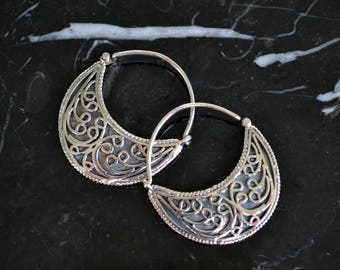 Tribal earrings, hoop earrings, tribal hoop earrings, sterling silver tribal earrings, round hoop earrings, simple, antique silver (E469)