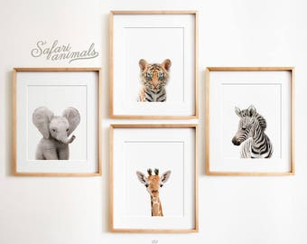 Safari Nursery decor set, PRINTABLE art, Safari animals decor, Baby animals, Nursery art, Nursery decor, Minimalist nursery, Modern nursery