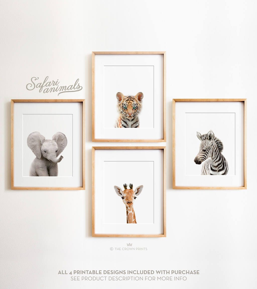 Animal Home Decor: Safari Nursery Decor Set PRINTABLE Art Safari Animals Decor