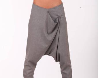 Gray Harem Pants / Paradox / New Collection / Baggy Pants / Low Crotch Pants / Extravagant Trousers / Loose Pants PP0326