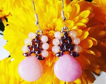 Earrings pink jade and rose quartz.