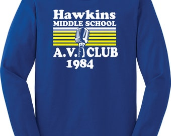 Hawkins Middle School AV Club Long-Sleeved Shirt