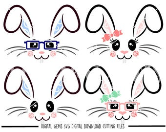 Bunny Rabbit faces, Easter svg / dxf / eps / png files. Download. Compatible with Cricut and Silhouette machines. Small commercial use ok.