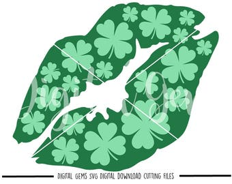 St Patrick's Day Lips svg / dxf / eps / png files. Digital download. Compatible with Cricut and Silhouette machines. Small commercial use ok