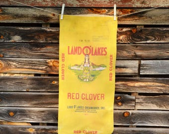 Vintage Land O Lakes Seed Sack, Yellow Red Clover Linen Seed Bag