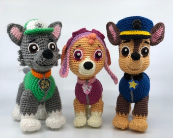 Paw Patrol crochet pattern (Chase, Tracker, Skye, and Rocky) (English), PDF format.