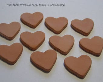 "10 pc Diffuser Hearts 1"" 24mm refills aromatherapy jewelry paint your own kids DIY. sachets charms tags ITPH ceramic kiln fired clay"