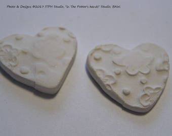 "2pc Diffuser Hearts flower texture 1"" 24mm. Refills aromatherapy jewelry paint your own kids DIY sachets charms tags ITPH ceramic kiln fired"