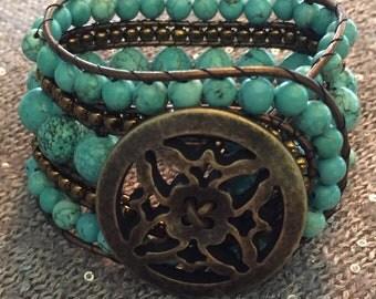 Turquoise & brass 5-row beaded cuff bracelet