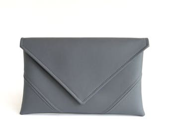 Grey Clutch Bag Gray Purse Wristlet Purse Vegan Leather Clutch Evening Clutch Purse Gift For Her Vegan Bag Bridesmaid Clutch Casual Handbag