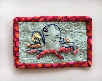 Maria the Octopus Fabric Postcard