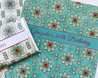 Elegant party favors, Turkish pattern, Moroccan party, floral party favors, personalized candy wrappers, Moroccan paper, Islamic gift, 24 ct