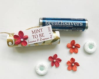 Mint to be wedding favor, Wedding mints, personalized mints, breathsaver, bridal shower favors, engagement, wedding, 24 ct.