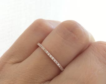 Rose Gold Wedding Band Ring Eternity Stacking Stackable