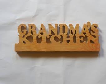 cypress wood grandmas kitchen sign