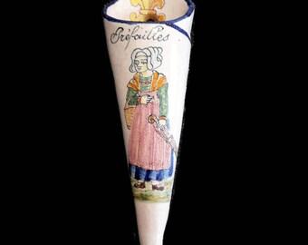 Antique Malicorne ceramic wall vase, french home decor, Beatrix pouplard wall decor