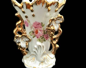 antique french edwardian porcelain vase, small wedding vase