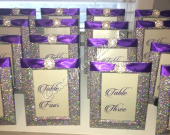 Silver Bling Table Numbers with Purple Ribbon