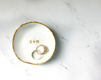Personalized Marbled Ring Dish | Clay Dish | Wedding, Engagement Gift | Jewelry Dish