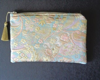Brocade Clutch, Pastel Brocade Clutch, Bridesmaid Gift, Brides Purse, Bridal Clutch, Evening Bag, Jewelry Pouch, Cosmetic Pouch
