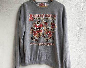 Vtg Captain Santa Claus Club Gray Sweatshirt Sweater Size L