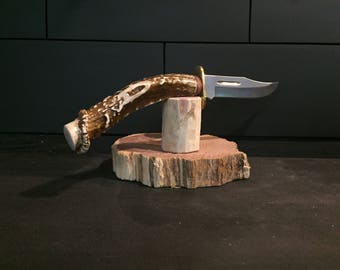 Handmade Knife. Mule Deer Antler Handle Clip Point blade w/ Sheath and free shipping