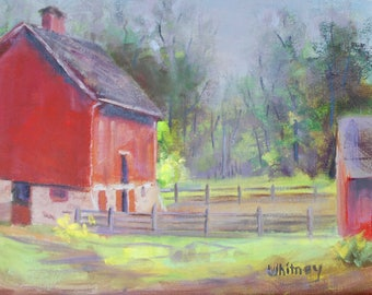"Small Painting, Small Oil Painting, Red Barn Painting, Farm Landscape, Plein Air, Original Oil Painting on Canvas Art Sue Whitney, 8"" x 10"""