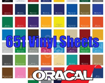 "12"" x 12"" Oracal 651 Glossy Vinyl Sheets - 61 Colors Available - Sale!"
