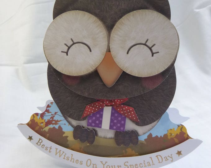 Owl Rocker Wobble Head Card, Greeting Card, Wise Owl, Boy or Girl, Any Age, Son, Daughter, Sister, Brother, Niece, Nephew