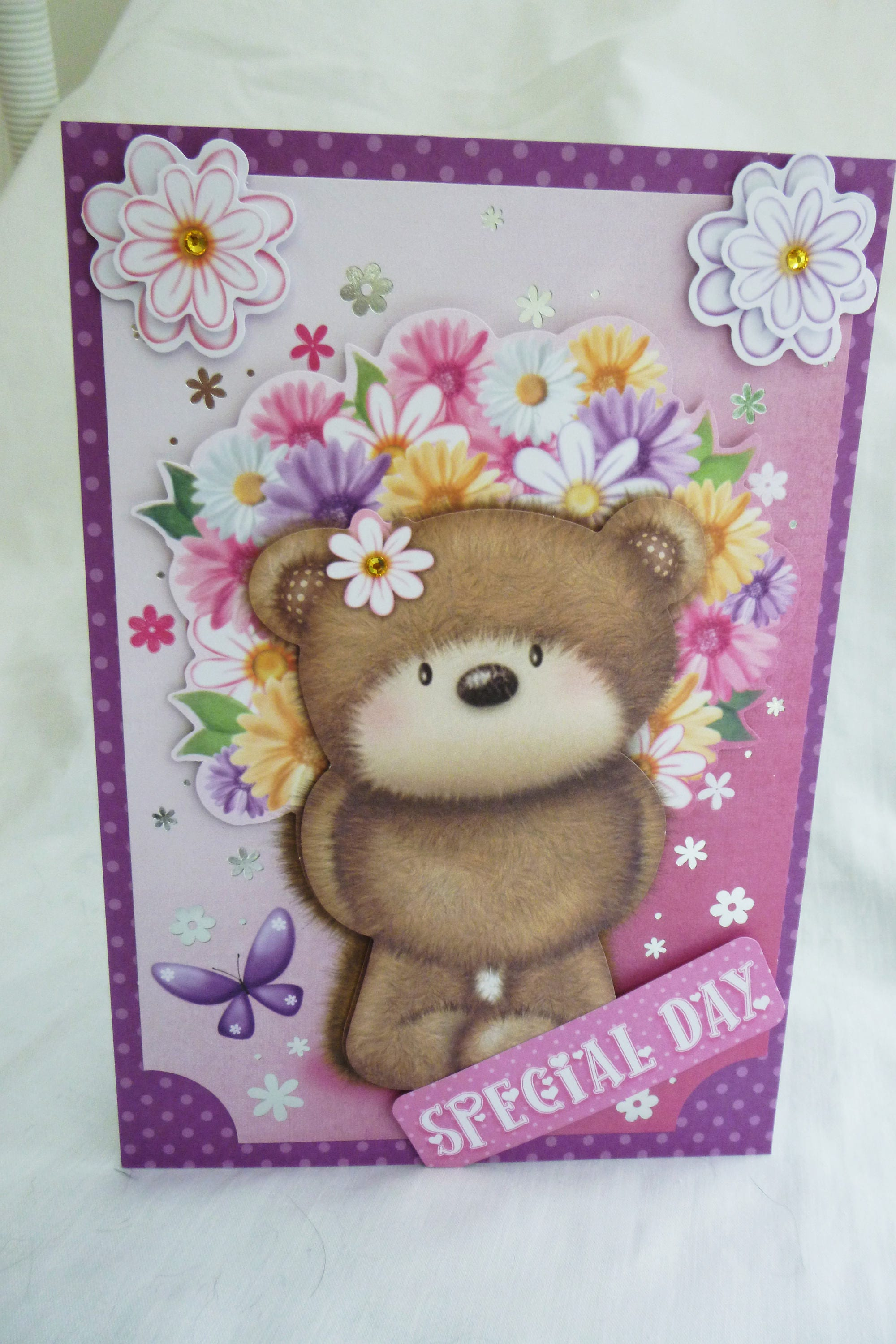 3D Decoupage Card Birthday Card Greeting Card Brown Bear with