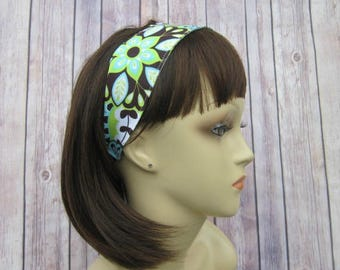 Reversible Headband - Headband for Women - Adult Headband - Womens Headband - Handmade Fabric Headband - Green Floral and Polka Dot