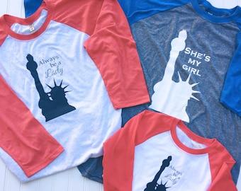 Lady Liberty Baseball Tee