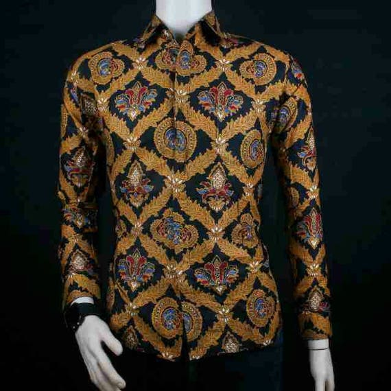 NEW Fashion Men's Quality Long Sleeve Batik Shirts Casual