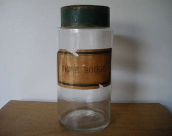 Pharmacy jar / Antique French glass apothecary jar / antique apothecary / ancien pot à pharmacie /shabby Nordic Living decor