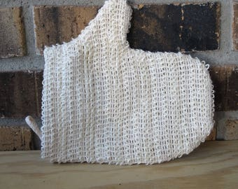 Sisal Woven Cloth Bath Mitt, scrubbie, natural fiber washcloth with hanging loop, eco friendly, soap sack, soap saver