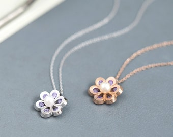 Amethyst Pearl Flower Necklace 925 Sterling Silver February Birthstone