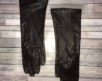 Vintage 50's Brown Leather Driving Gloves / size 6 1/2 / by Fownes