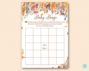Autumn Fall Baby Shower Games, Bingo Baby Shower Game, Baby Shower Bingo, Baby Shower Bingo Cards, Baby Shower Games, Games Printable TLC548