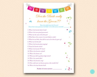 Fiesta Bridal Shower Games, Does the Bride know Groom, How well Bride knows her groom, Bridal Shower Games Download BS136