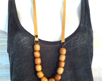 Necklace leather yellow and large beads Kathmandu