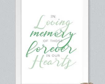 NEW! Contemporary Wedding Print Table Sign - In Loving Memory Forever in Our Hearts