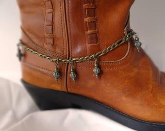 Boot bracelet, Antiqued bronze & verdigris beaded boot bracelet, Boot bling, Cowgirl boot bling, Cowboy boot bracelet, Western boot jewelry