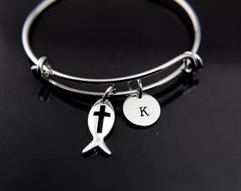 Jesus Fish Cross Charm Bangle Jesus Fish Cross Charm Bracelet Jesus Fish Cross Charm Jesus Fish Cross Jewelry Personalized Initial Bracelet
