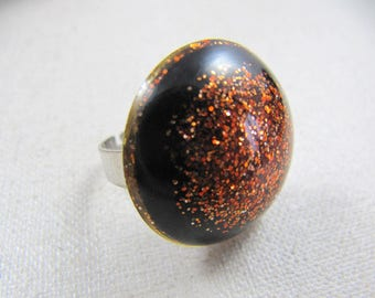 Resin ring glitter orange 25mm