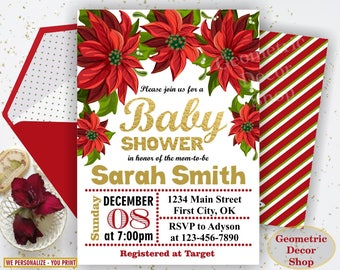 Christmas Baby Shower Invitation, Holiday Baby Shower Invite, Winter Florals Red, White, Gold & Greenery Holy - Holiday BSW6