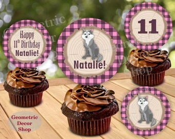 Great Wolf Lodge Woodland Birthday Cupcake Toppers Centerpiece Stickers Gift Tags Pink Plaid Girl bear fox Lumberjack Baby Shower CTLJ5