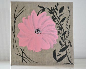 painting romantic pink flower, table linen, table shabby format 20 x 20