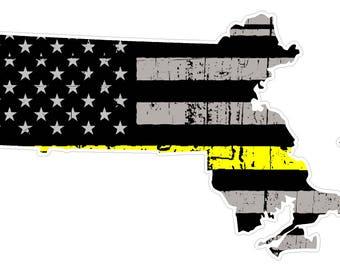 Massachusetts State (E22) Thin Yellow Line Dispatch Vinyl Decal Sticker Car/Truck Laptop/Netbook Window