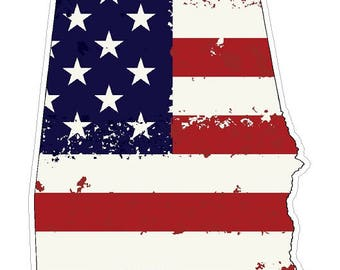 Alabama State (J3) USA Flag Distressed Vinyl Decal Sticker Car/Truck Laptop/Netbook Window